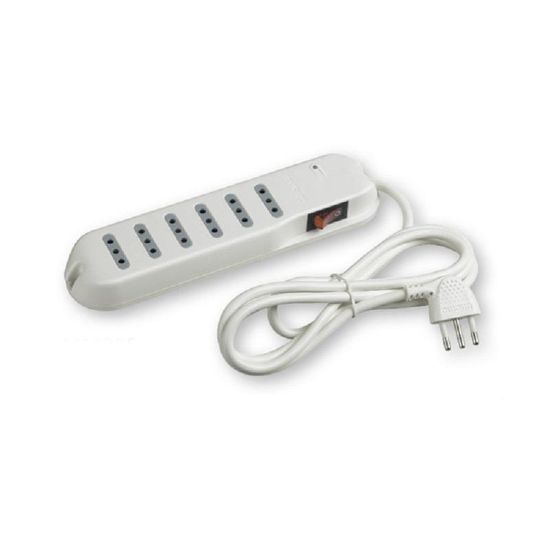 Alargador Multiple 6 Interruptores 2P+ T10A /3 MT Blanco