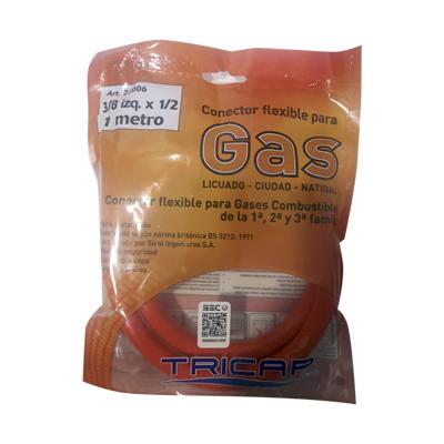 Flexible Gas 3/8 izq HI X1/2HI x 100cm Tricap