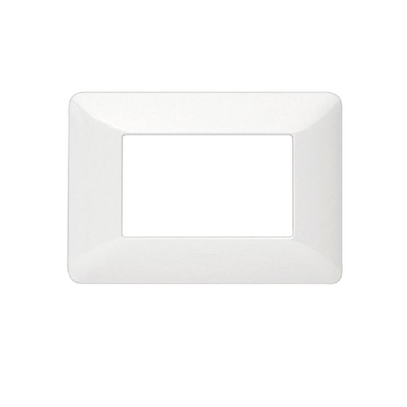 Placa 3 modulos Tecnopolimero Blanco